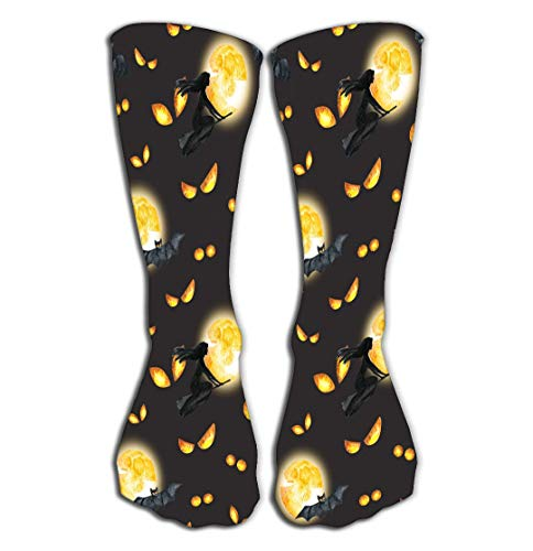 Outdoor Sports Men Women High Socks Stocking Happy Halloween Background Evil Eyes Full Moon Flying Witch Watercolor Horror Night Party Tile Length 19.7
