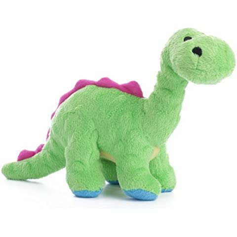 goDog Dinos Bruto Tough Plush Dog Toy with Chew Guard Technology, Green, Small by goDog
