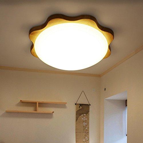 GRFH LED-Beleuchtung Decke Moderne Nordic solide runde Holz Pflaume Blüte Raum Studie Balkon Gabel Lampe 110V-220V , 45 cm 24w white light