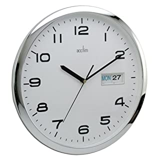 Acctim Supervisor Wall Clock, Chrome/White, 320 mm