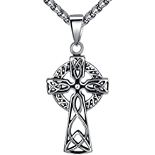 Aoiy - Collar con colgante de hombre de acero inoxidable, Cruz celta, nudo irlandés, cadena de 61cm, aap136