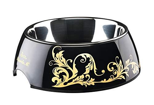 HUNTER Ricarda M. Melamin-Napf, Futternapf, Trinknapf, für Hunde und Katzen, mit Edelstahlnapf, 160 ml, schwarz/gold