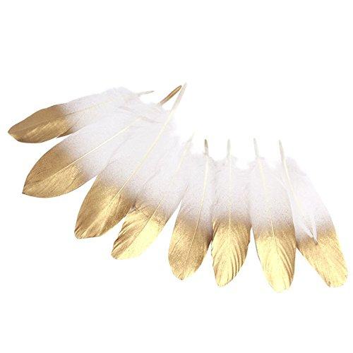 36 plumas naturales con baño dorado para manualidades, scrapbooking, tocados, sombreros, costura, centros mesa, atrapasueños, decoración navidad ...de OPEN BUY