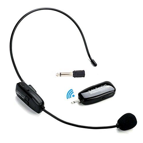 Winnes Professional Mikrofon Headset Kabellos, 2.4G Wireless Mikrofon Headset Cordless Mic Freisprecheinrichtung Wall Through System für Voice Verstärker, Lautsprecher, Karaoke, Computer, Unterricht, Meeting, Yoga, Singen