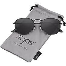 SOJOS Mode Polygon Sonnenbrille Damen Herren Verspiegelte Linse Leichte Unisex Brille SJ1072