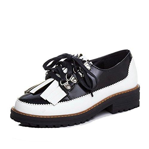 AllhqFashion Femme Verni Rond à Talon Bas Lacet Couleur Unie Chaussures Légeres Blanc