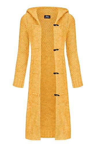 n Mantel Herbst Wolle Strickjacke mit Kapuze Long Lang Pulli Pullover Herbs Winter Beige Grau Schwarz S M L XL 36 38 40 42 (988) (Curry, M) ()