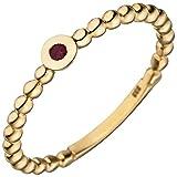 JOBO Damen Ring Kugel 333 Gold Gelbgold 1 Rubin rot Kugelring Rubinring Größe 52