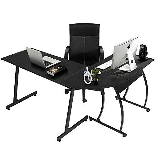 Eck-workstation (NOBLJX Eck-Computertisch in L-Form - Große PC-Gaming-Workstations, Hochwertiger Monitorständer Aus Holz Und Metall Für Das Heimstudium)