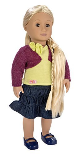 Our Generation From Hair to There 18-Inch Phoebe Doll with Extendable Hair and Style Guide in Jean Skirt, Yellow Tank Top, Red Shrug, and Blue Shoes by Our Generation