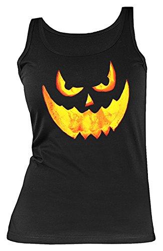 Halloween Damen Tank Top - coole Sprüche / Motive für Halloween : Halloween Pumpkin -- Damen Trägershirt Grusel Gesicht Kürbis Gr: L (Schnitt Gesicht Halloween Kürbis)