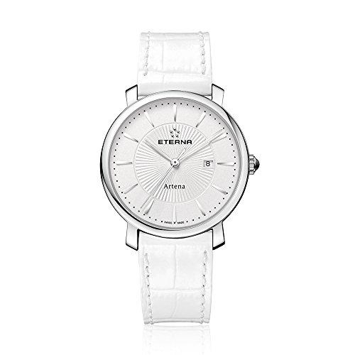 Eterna 2510.41.11.1252 Montre bracelet Femme, Cuir, couleur: blanc