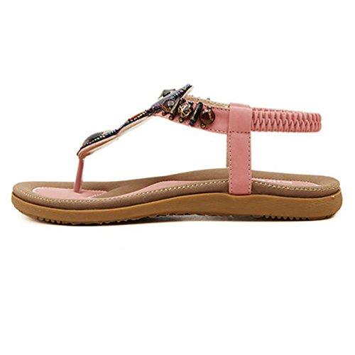 YOUJIA Hohe Qualität Frauen Casual Peep-Toe Flache Sandalen Schuhe 35-42 Pink