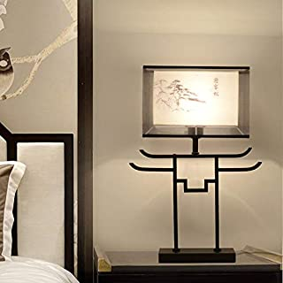 Moderne warme Schlafzimmernachttischlampe des neuen Wohnzimmers der chinesischen Art, C-Abschnittschwarzes