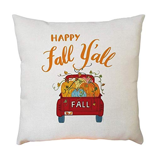 zhong xuyi Happy Halloween Pillowcase 18 x 18cm Happy Fall Yall Sofa Bedroom Car Decoration (All Y Happy Halloween,)