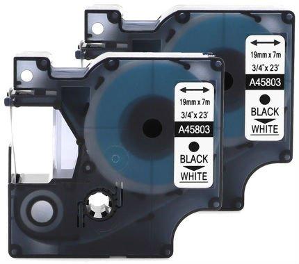 2 Kassetten D1 45803 schwarz auf weiß 19mm x 7m Schriftband kompatibel für DYMO LabelManager LM 100, 110, 120P, 150, 155, 160, 200, 210D, 220P, 260, 260D, 280, 300, 350, 350D, 360D, 400, 420P, 450, 450D, 500TS, PC, PC2, PnP, PnP Wireless, LabelPoint LP 100, 150, 200, 250, 300, 350, LabelWriter LW 400 Duo, 450 Duo Beschriftungsgerät (Pc 250/2)