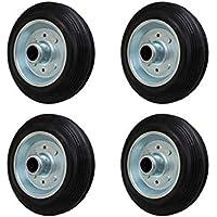 4 Stück 100 mm Vollgummirad Rad für Transportrollen Lenkrollen Transportgeräterad