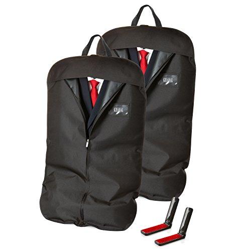 KHADAL 2X Premium Kleidersack für bis zu 3 Anzüge | hochqualitative & Wasserabweisende Anzugtasche zur idealen Aufbewahrung von Anzügen & Kleidern | Anzugsack inkl. Flusenbürste (2)