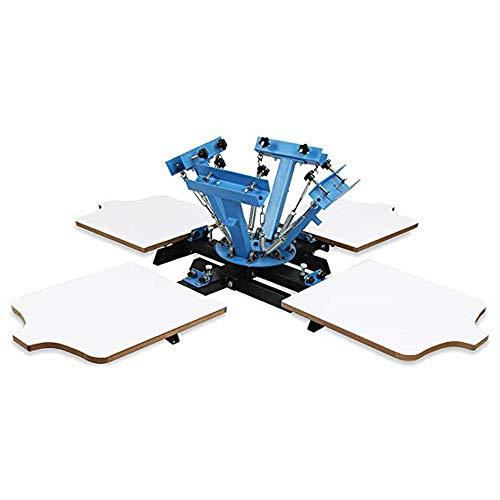 Fayelong Siebdruckmaschine 17,7 x 54,3 cm Siebdruckpresse Siebdruck für T-Shirt DIY Drucken abnehmbare Palette (1 Farbe 1 Station) 4 Color 4 Station -