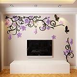 Vine 3D stereoskopische Wandaufkleber, Wohnzimmer Sofa, TV Schlafzimmer Nachttisch, New Flower Vine Schwarzlicht lila links Edition, Small