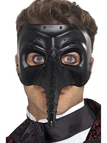 shoperama Venezianische Schnabel-Maske Zanni Capitano schwarz Pestmaske Venedig Maskenball Commedia dell'arte - Pantalone Kostüm Und Maske