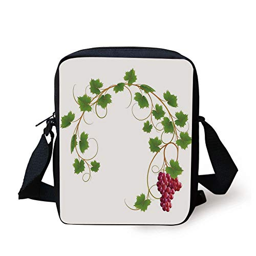 Grapes Home Decor,Curved Ivy Branch Deciduous Woody Wines Seed Clusters Cabernet Kitchen,Green Purple Print Kids Crossbody Messenger Bag Purse -