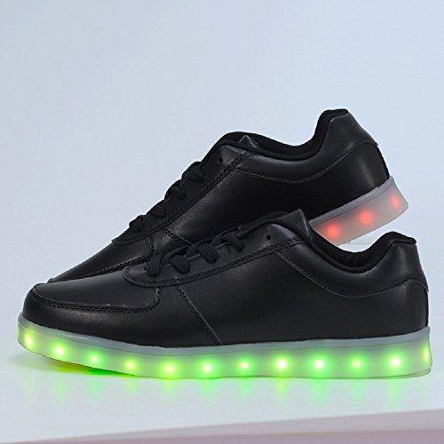 2016quattro stagioni scarpe scarpe casual uomo e donna luminoso LED, 2colori eu 35–46 Black