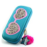 Cute Cool Glittered Hearts Cartoon Art Broad Pencil Pouch For Kids In Multipurpose Use (Blue)