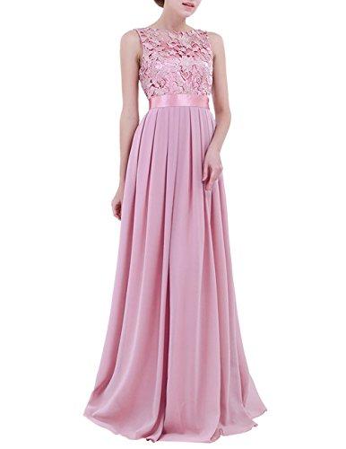 iiniim Vestido de Fiesta Largo para Boda Vestido de Dama de Honor de la Novia Vestido Vintage Vestido de Gasa para Mujeres Ciruela Clara 36