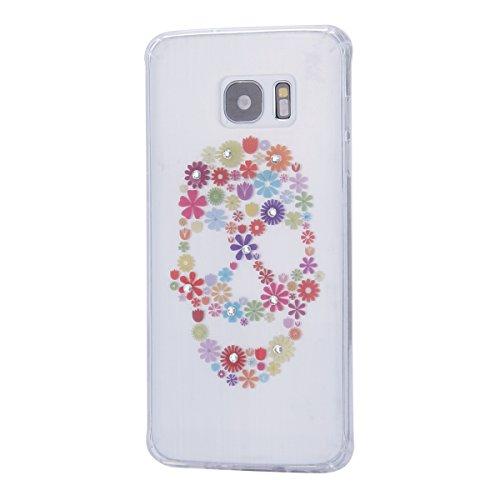 Coque Housse Etui pour Samsung Galaxy S7, Galaxy S7 Coque en Silicone dessin au laser Etui, Galaxy S7 Silicone Coque Souple Etui HousseSlim Case Soft Gel Cover, Ukayfe Etui de Protection Cas en caoutc Laser-Fleurs de crâne