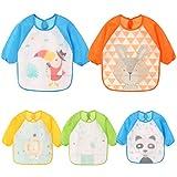 Yealoo Wasserdichte Doppel Stoff Ärmellätzchen Babylätzchen mit Klettverschluss Kinderlätzchen Kinder Schürze für Kinder 6-36 Monate (5er Pack A)