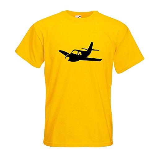 KIWISTAR - Flugzeug - Segelflugzeug - Gleiter T-Shirt in 15 verschiedenen Farben - Herren Funshirt bedruckt Design Sprüche Spruch Motive Oberteil Baumwolle Print Größe S M L XL XXL Gelb