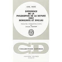 Différence de la Philosophie de la Nature Chez  Democrite et Epicure