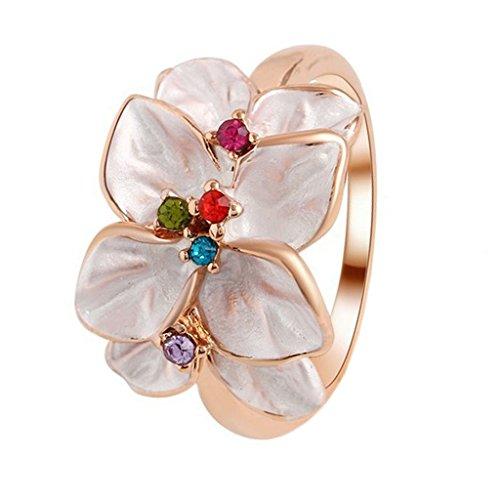 Anillo Oli Moda Dedo Pintura Multicolor Flores Cristal Diamantes de Imitación - 6