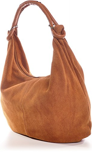 CNTMP, Borsa da Donna, Borsa a Spalla, Con Tasche, In Pelle Scamosciata, Con Tasca in Pelle, DIN-A4, 44 x 36 x 4 cm marrone cognac