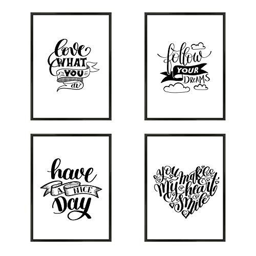 Verschiedene Poster im Set - 4 x DIN A4 - ohne Bilderrahmen | Schwarz/Weiße Bilder mit Sprüchen | Kunstdruck, Wandbild, Bild, Poster mit Spruch für Schlafzimmer, Wohnzimmer, Flur, Büro