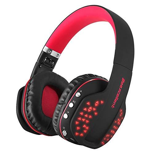 Kuizhiren1 kabellose Bluetooth-Headsets für Kopfhörer,Beexcellent Q2 Bluetooth Wireless Gaming Headset mit Mikrofon-LED für PS4 Xbox iPad Red (Ps4 Playstation Home)