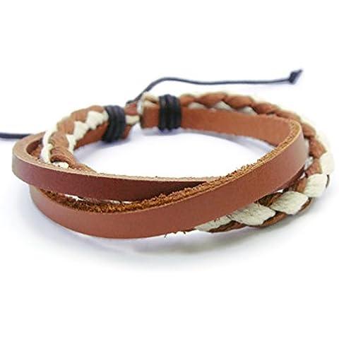 apecto Jewelry–Cuerda de trenzado de piel marrón oscuro cuero Wrap Pulsera, SB7