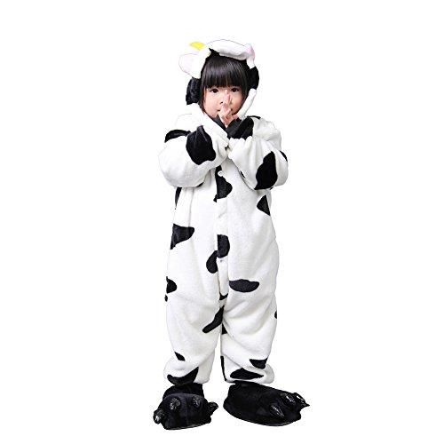 lifenewbaby Kids Cartoon Tier Pyjama Flanell Anime Cosplay Kostüm Geburtstag/Karneval/Halloween/Weihnachten/Neues Jahr Geschenk Gr. Small, kuh (Halloween Kuh-mädchen)