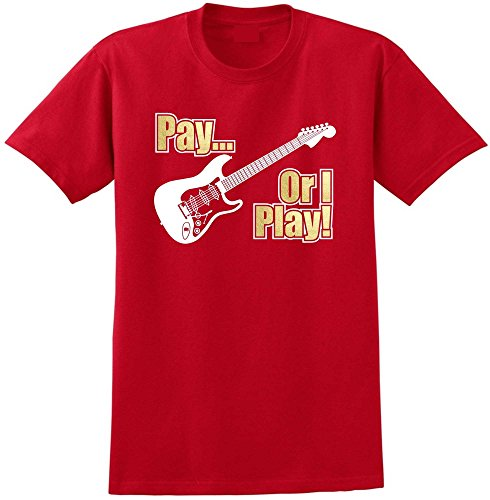 Electric Guitar Pay or I Play - Red Rot T Shirt Größe 87cm 36in Small MusicaliTee (Prs Picks)