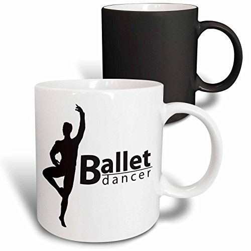 3dRose Mug_219636_3 Ballet Male Dancer Becher, schwarz/weiß