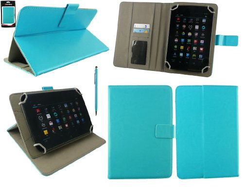 Emartbuy® AlpenTab 7 Zoll Tablet PC Universalbereich Türkis Multi Winkel Folio Executive Case Cover Wallet Hülle Schutzhülle mit Kartensteckplätze + Türkis 2 in 1 Eingabestift