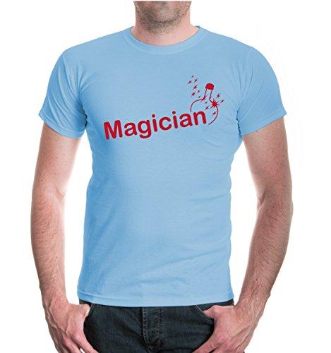 buXsbaum® T-Shirt Magician Skyblue-Bordeaux