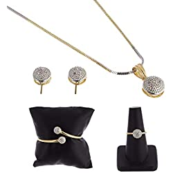 Zeneme American Diamond Traditional Fashion Jewellery Combo of Pendant Set/Ring/Bracelet with Earring for Women/Girls