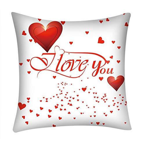 NEEDRA Lch Liebe Dich Valentinstag Romantisch Geschenk 45×45 cm Deko-Kissen Geburtstag/Bedrucktes Motiv-Kissen Mit Herzen