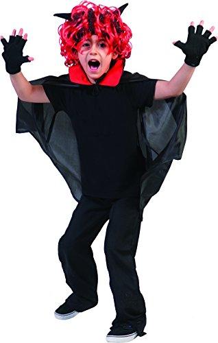 een Kinder Karneval Kostüm Dämonen Cape, böser Teufel, 110-164, 5-14 Jahre, Mehrfarbig (Teufel Kostüm Frisuren)