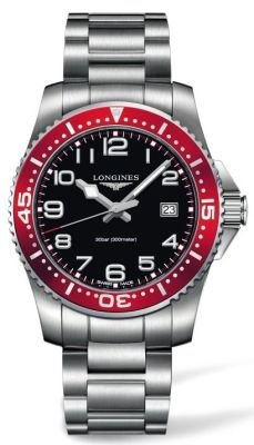 Longines Hydroconquest Quartz Stainless Steel Mens Watch Red Bezel L3.689.4.59.6