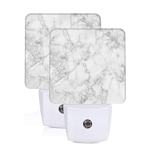 Nature Granite Pattern With Cloudy Spotted Trace Effects Marble Artistic Image Auto Sensor LED Dusk to Dawn Night Light Set Of 2 White