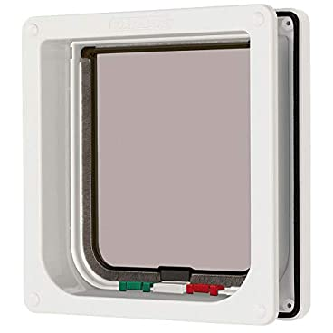 Cat Mate 4 Way Locking Cat Flap with Door Liner to 50mm (2″), White (235W)
