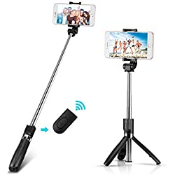 Yimidon Perche Selfie Bluetooth, Selfie Stick Trépied avec Réglable Télescopique Support Téléphone pour iPhone X/ 8/7/7 Plus/ 6s/ 6, Samsung Galaxy, Huawei, Sony, Android Smartphones - Noir